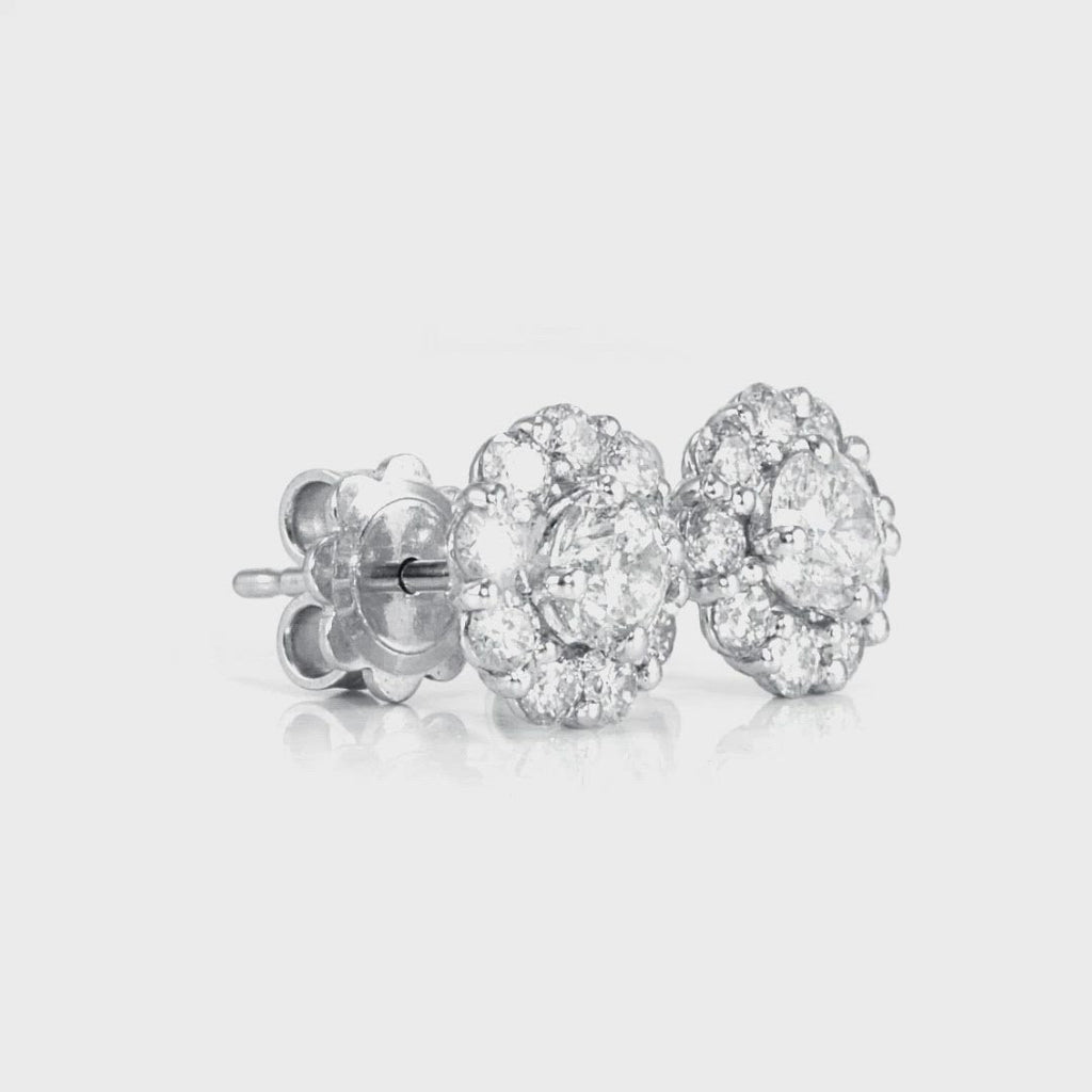 D&P Designs Halo Stud Earrings Platinum