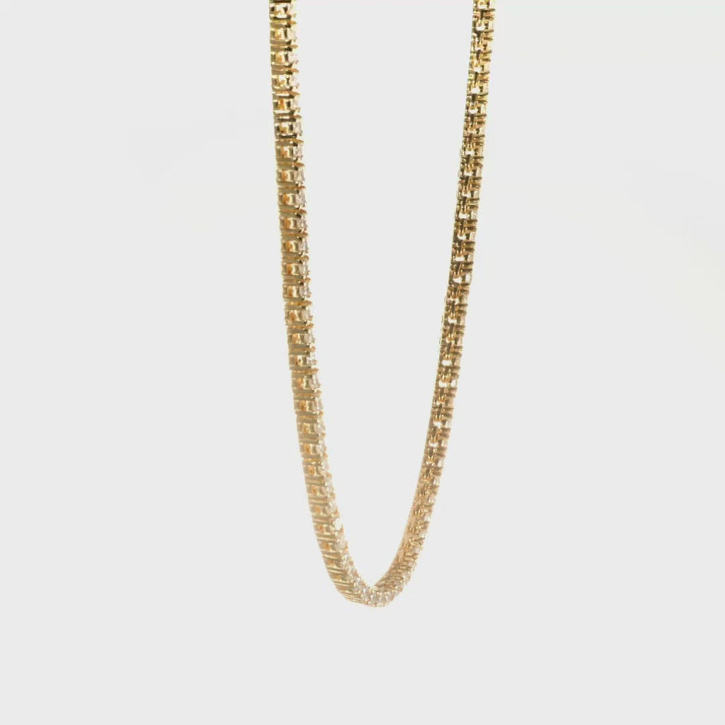 D & P Designs Traditional Straight Line Tennis Necklace Yellow Gold