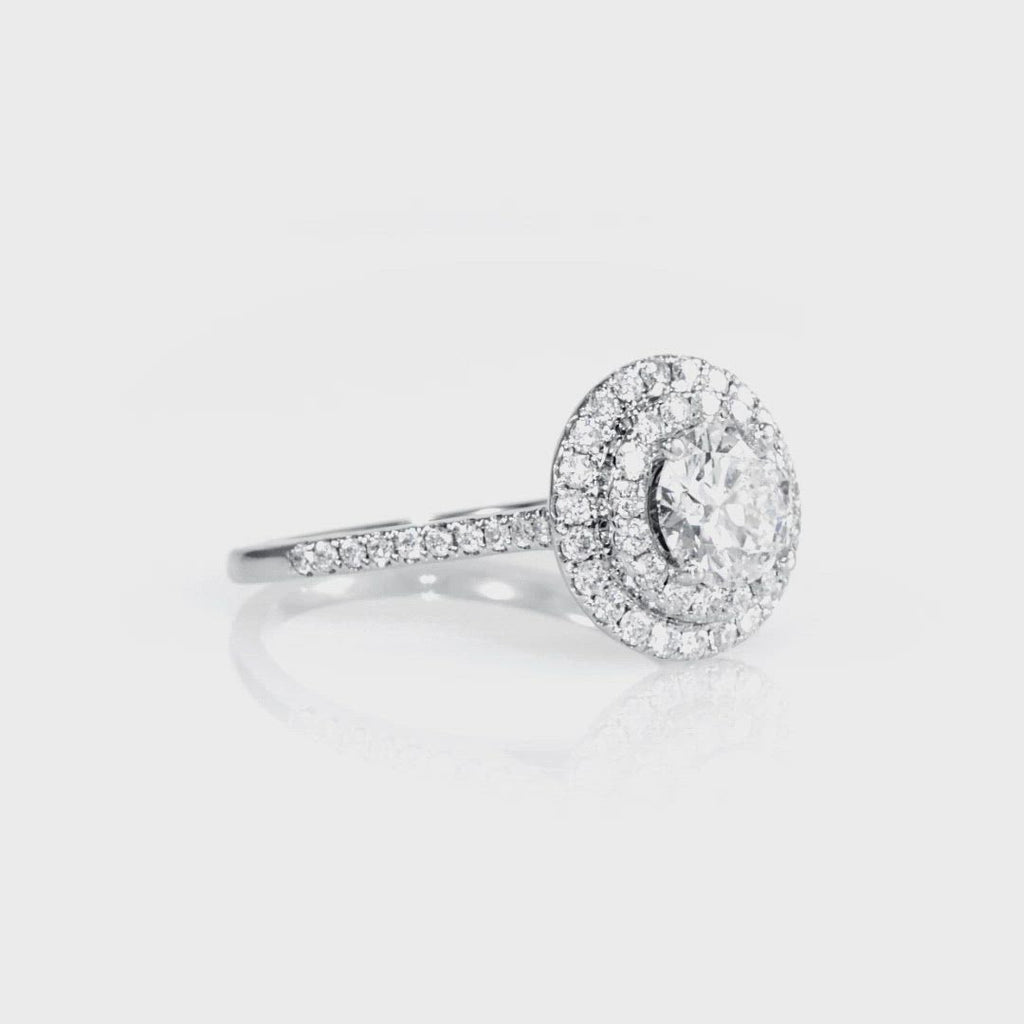 D&P Designs Double Halo Half Way Pave Engagement Ring White Gold