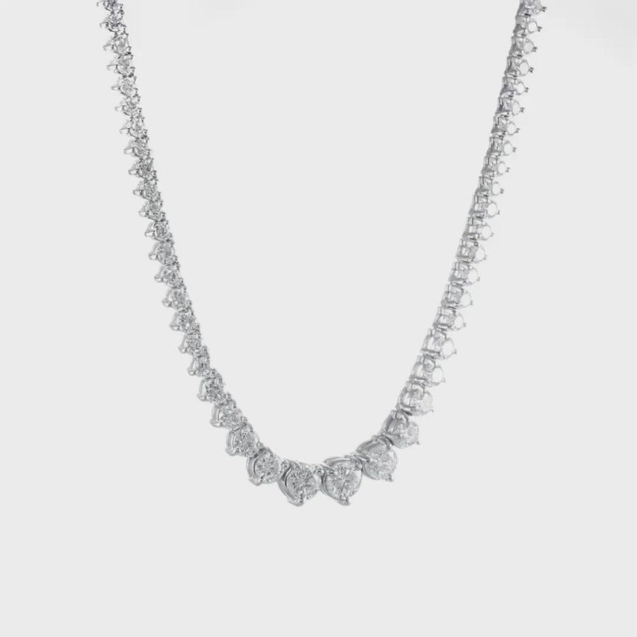 D&P Designs Three Prong Graduation Necklace White Gold