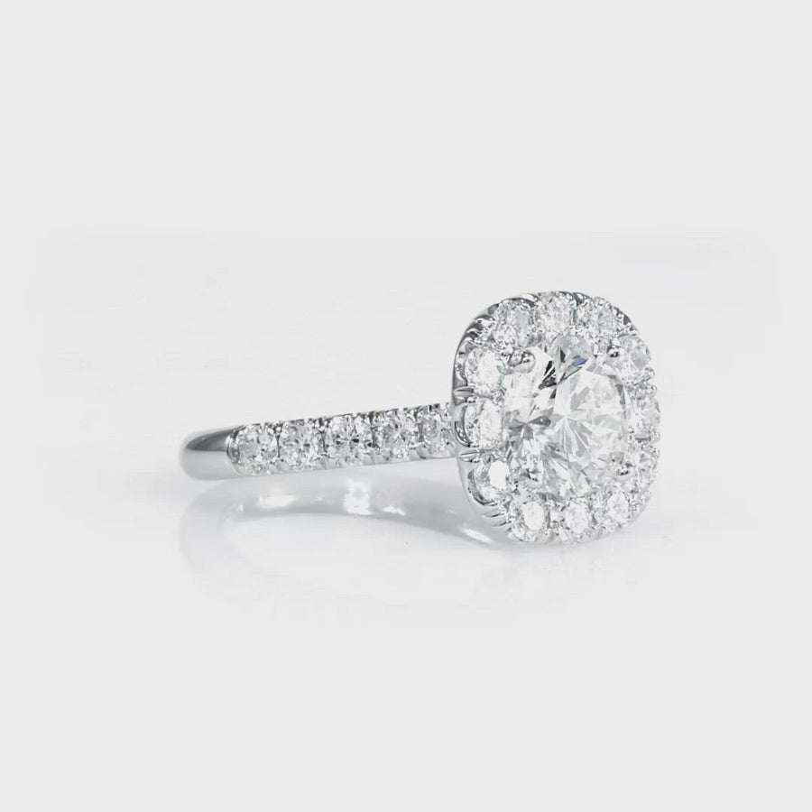 Single Halo One Row Half Way Pave Engagement Ring White Gold