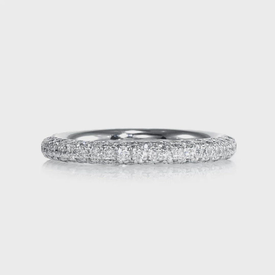 Three Row Pave Eternity Band White Gold
