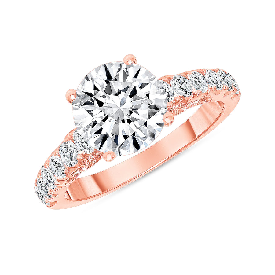 D&P Designs Carved Four Prong Solitaire Engagement Ring Rose Gold