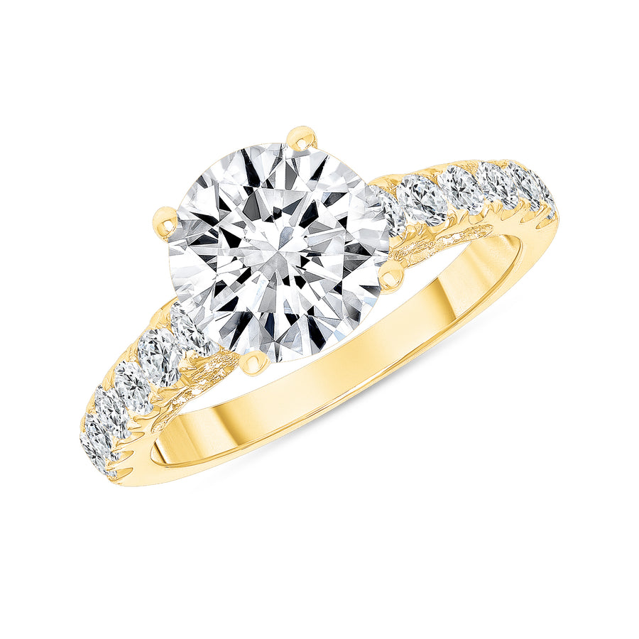 D&P Designs Carved Four Prong Solitaire Engagement Ring Yellow Gold