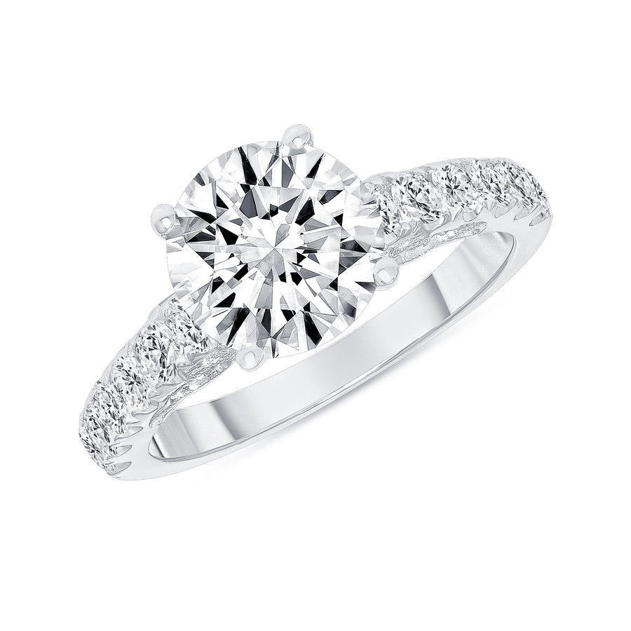 D&P Designs Carved Four Prong Solitaire Engagement Ring White Gold