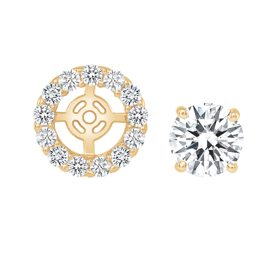 D&P Designs Detachable Halo Jacket Stud Earrings Yellow Gold