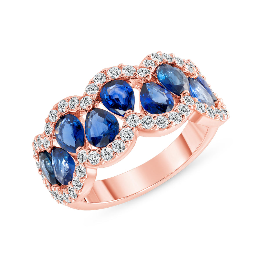 D&P Designs Diamond and Blue Sapphire Band Rose Gold