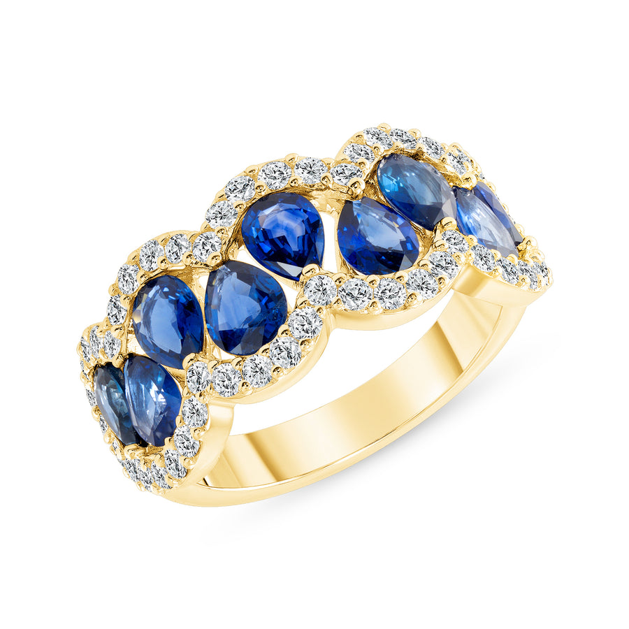 D&P Designs Diamond and Blue Sapphire Band Yellow Gold