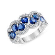 D&P Designs Diamond and Blue Sapphire Band White Gold