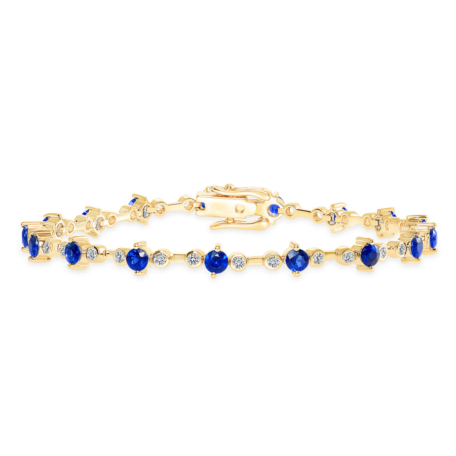 D&P Designs Diamond and Blue Sapphire Bracelet Yellow Gold