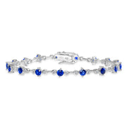 D&P Designs Diamond and Blue Sapphire Bracelet White Gold