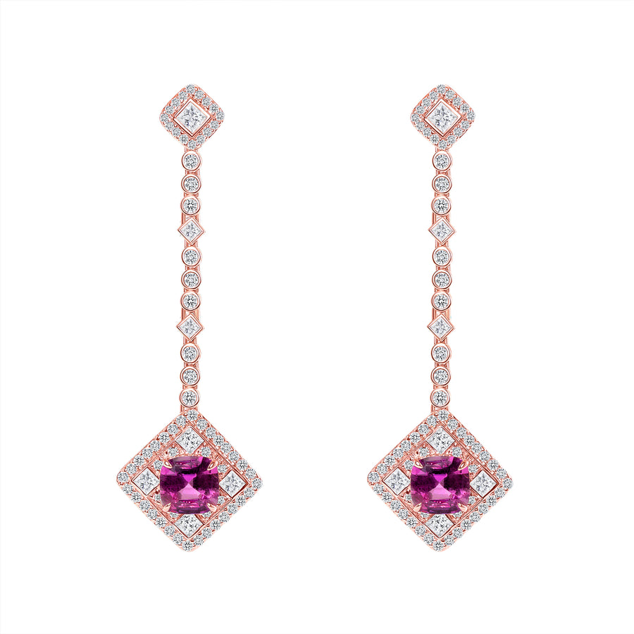 D&P Designs Diamond and Pink Sapphire Hanging Earrings Rose Gold