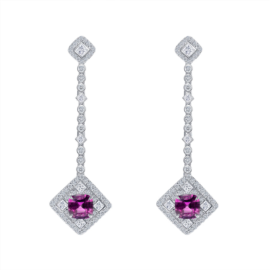 D&P Designs Diamond and Pink Sapphire Hanging Earrings White Gold