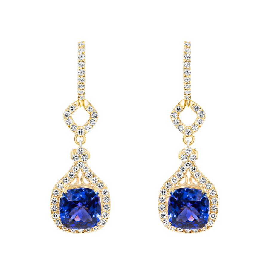D&P Designs Diamond and Tanzanite Hanging Earrings Yellow Gold