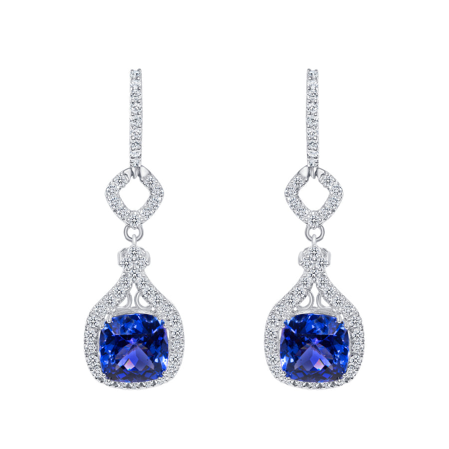 D&P Designs Diamond and Tanzanite Hanging Earrings White Gold