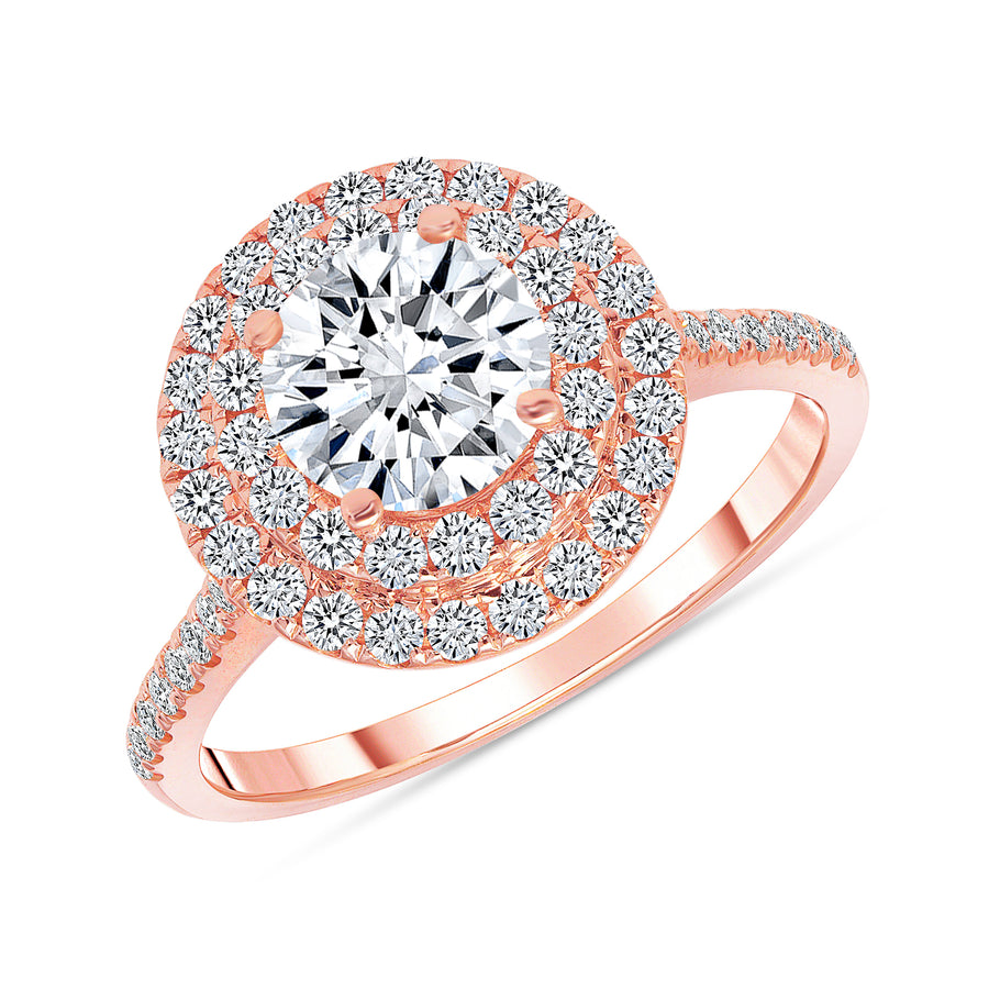 D&P Designs Double Halo Half Way Pave Engagement Ring Rose Gold