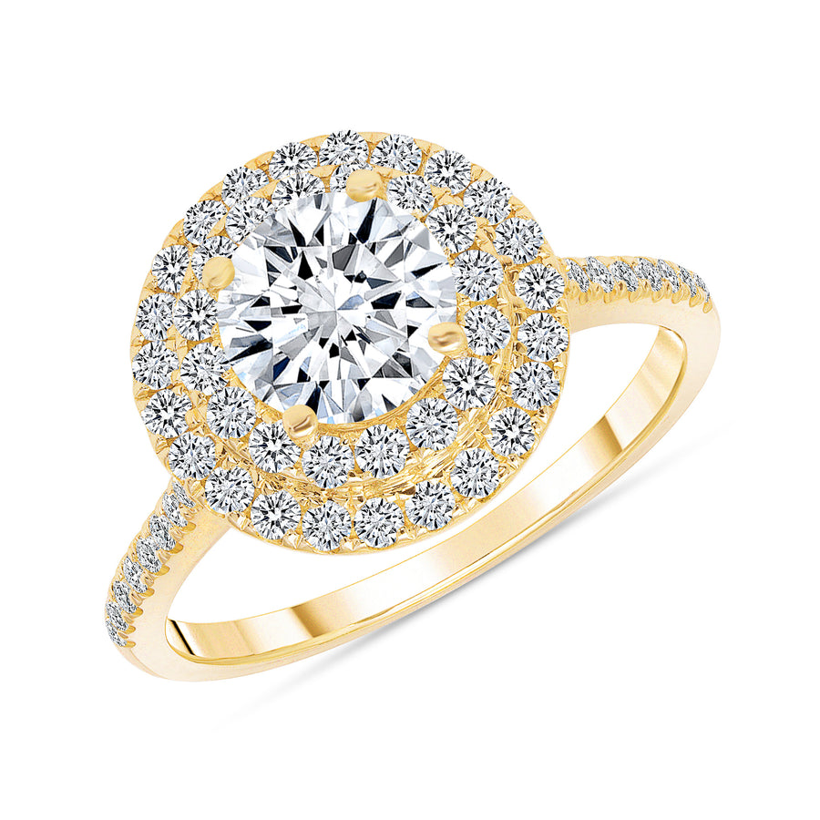 D&P Designs Double Halo Half Way Pave Engagement Ring Yellow Gold
