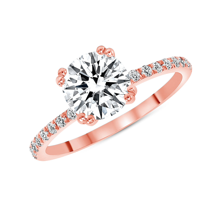 D&P Designs Eight Prong Solitaire Engagement Ring Rose Gold