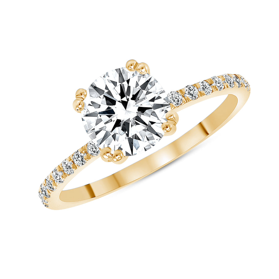 D&P Designs Eight Prong Solitaire Engagement Ring Yellow Gold