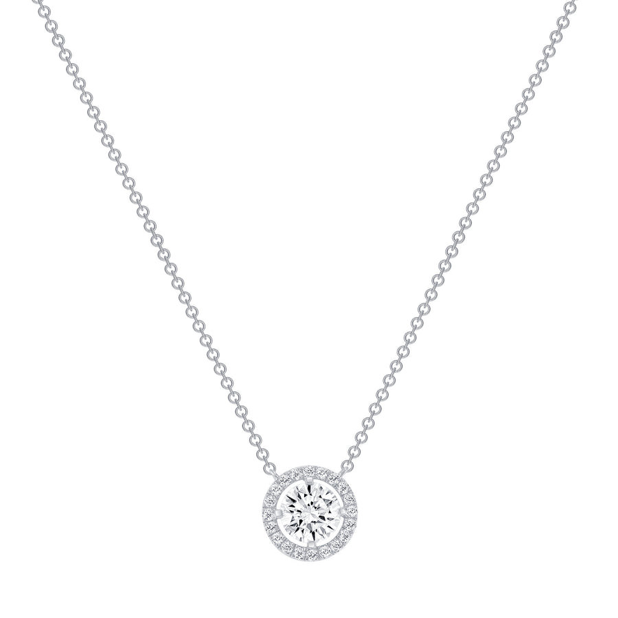 D&P Designs Four Prong Solitaire With Halo Necklace White Gold