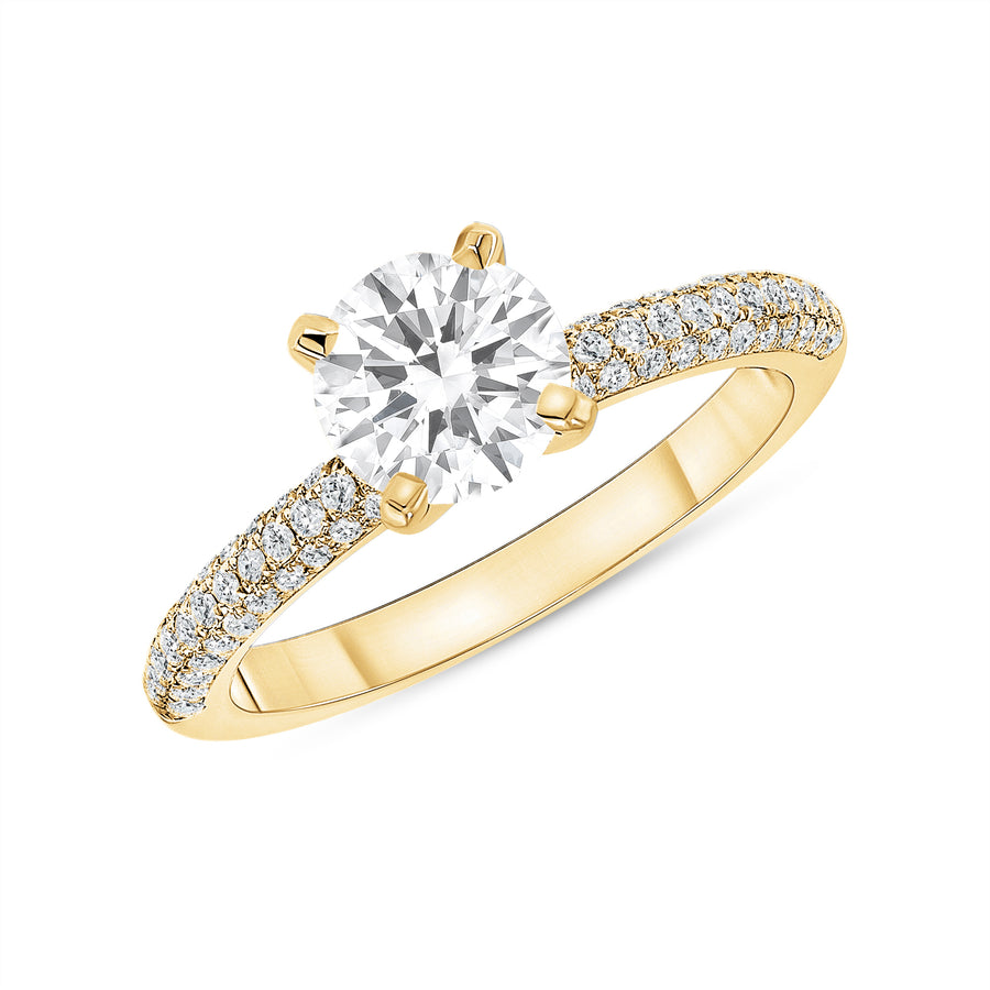 D&P Designs Four Prong Three Row Solitaire Engagement Ring Yellow Gold