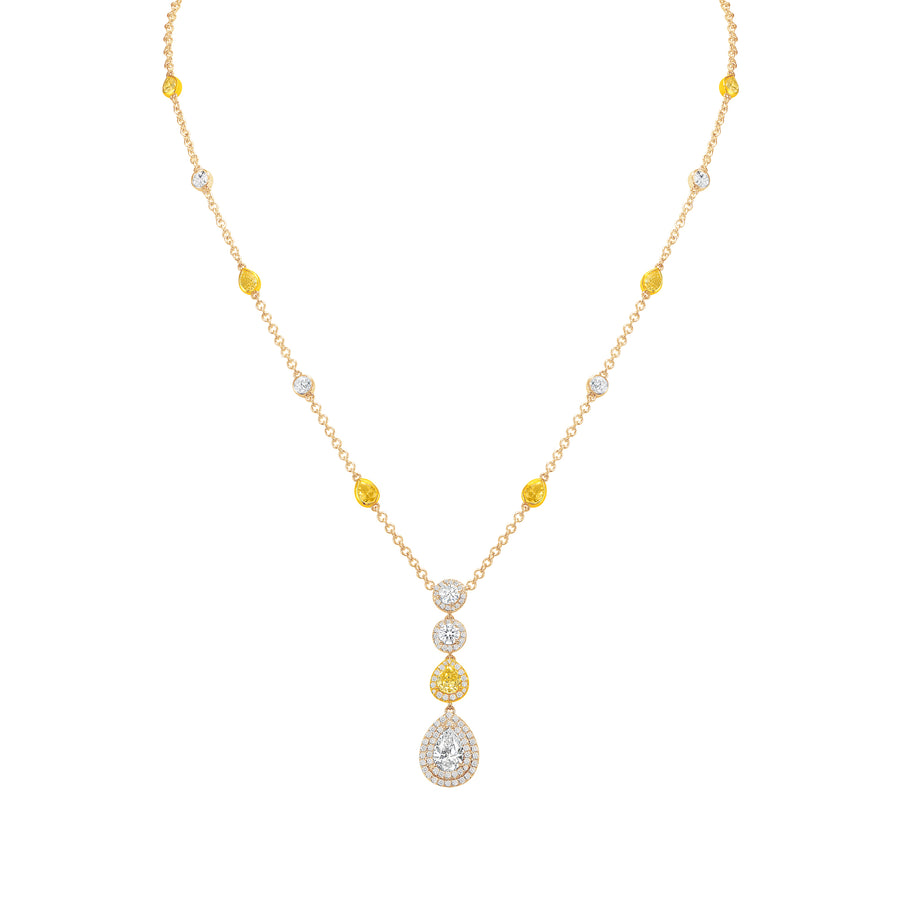 D&P Designs Halo Pavé Diamond By Yard Necklace Yellow Gold