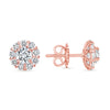 D&P Designs Halo Stud Earrings Rose Gold