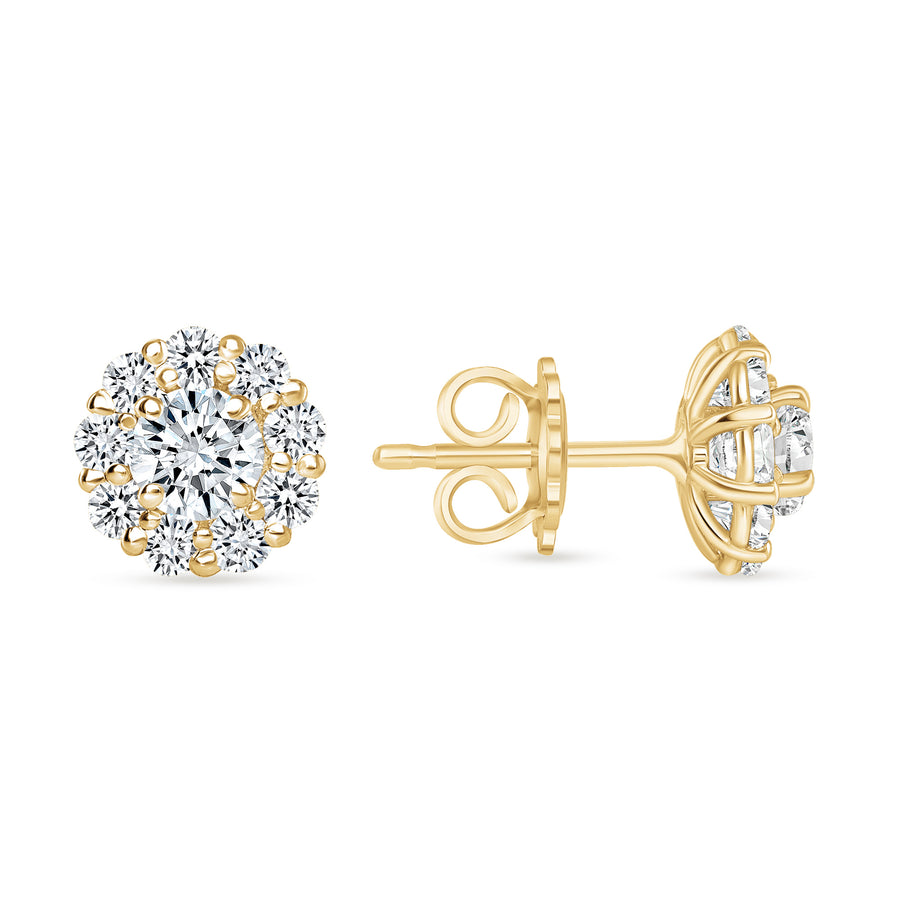 D&P Designs Halo Stud Earrings Yellow Gold