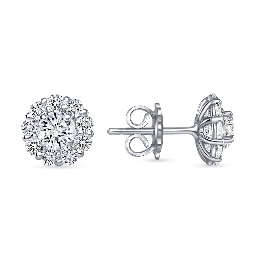 D&P Designs Halo Stud Earrings White Gold