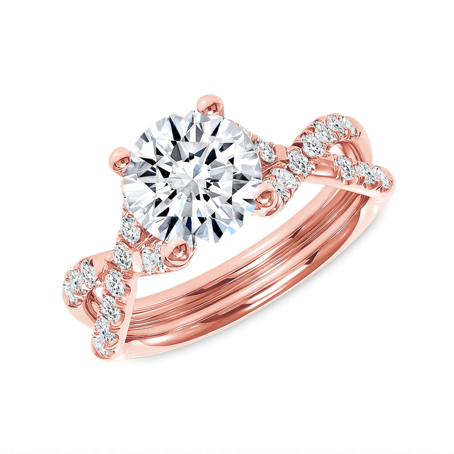 Hugs and Kisses Solitaire Engagement Ring Rose Gold