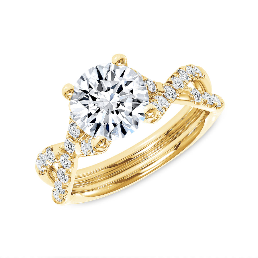 Hugs and Kisses Solitaire Engagement Ring Yellow Gold