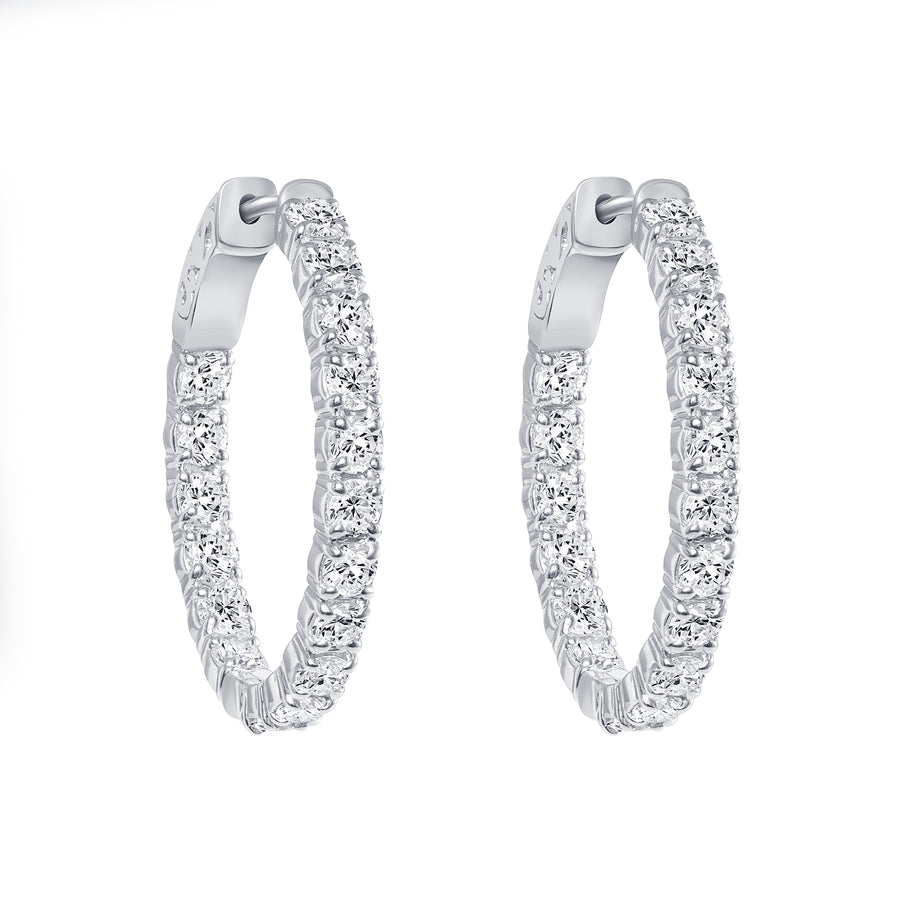 D&P In & Out Earrings White Gold Platinum