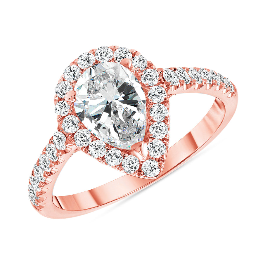 D&P Designs Pear Shaped Halo Engagement Ring Rose Gold