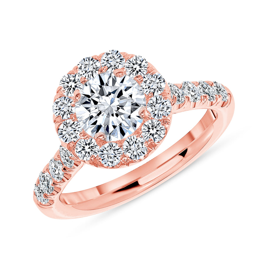 Simple Halo Half Way Pave Engagement Ring Rose Gold