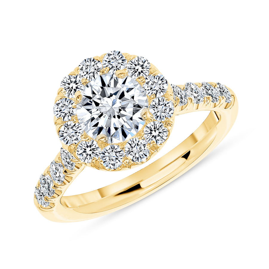 Simple Halo Half Way Pave Engagement Ring Yellow Gold