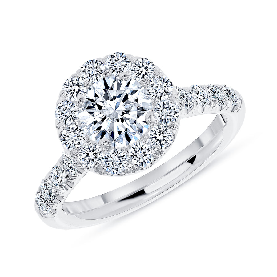 Simple Halo Half Way Pave Engagement Ring White Gold