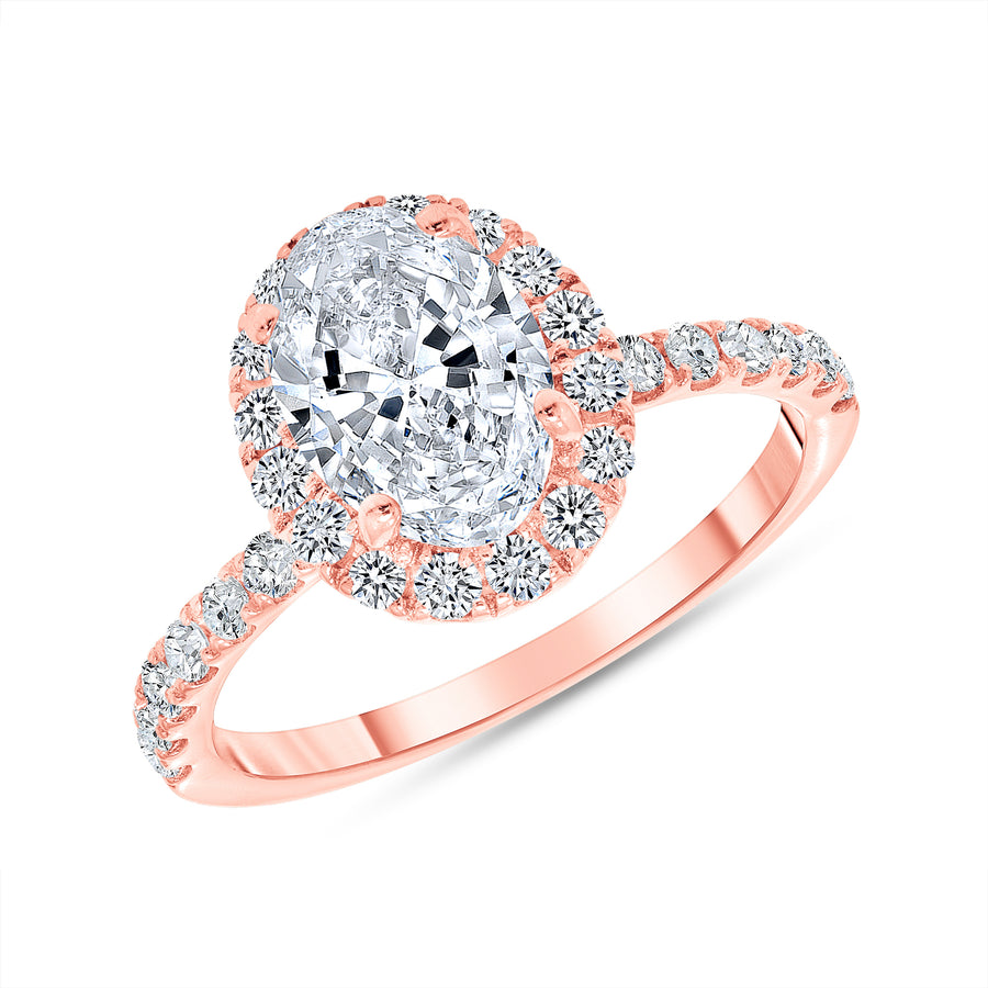 D&P Designs Single Halo Half Way Pave Engagement Ring Rose Gold