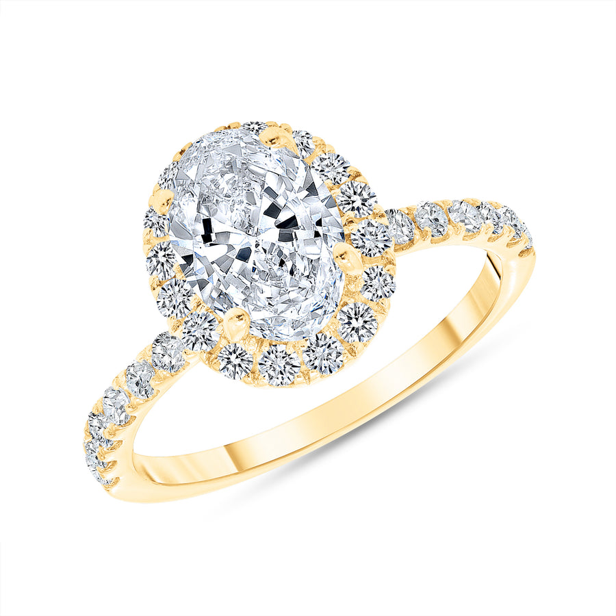 D&P Designs Single Halo Half Way Pave Engagement Ring Yellow Gold
