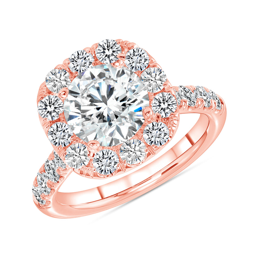 Single Halo One Row Half Way Pave Engagement Ring Rose Gold