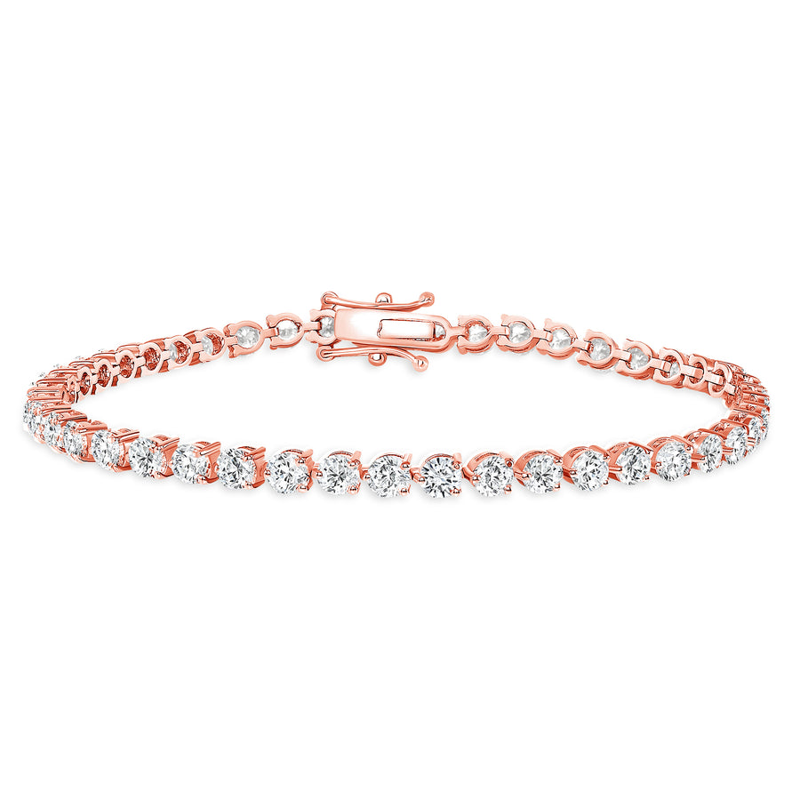 D&P Designs Three Prong Tennis Bracelet Rose Gold