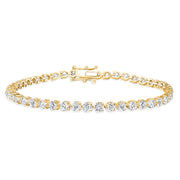 D&P Designs Three Prong Tennis Bracelet Yellow Gold