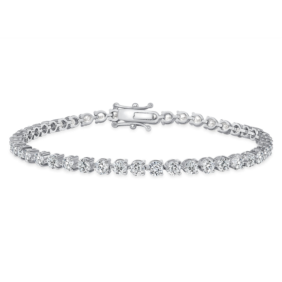 D&P Designs Three Prong Tennis Bracelet White Gold