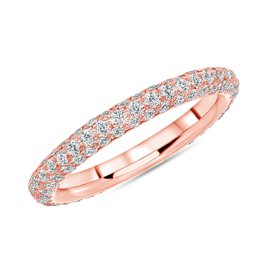 Three Row Pave Eternity Band Rose Gold