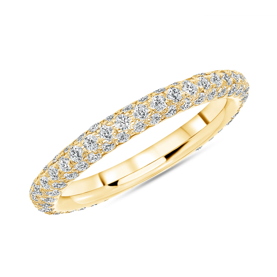 Three Row Pave Eternity Band Yellow Gold