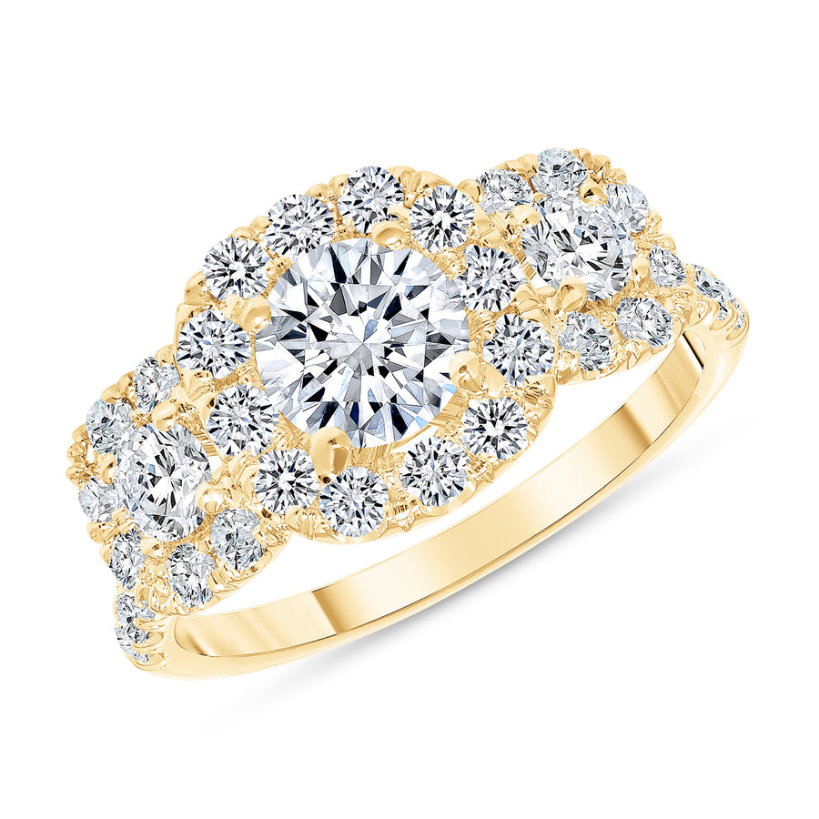 D&P Designs Three Stone Halo Engagement Ring Yellow Gold
