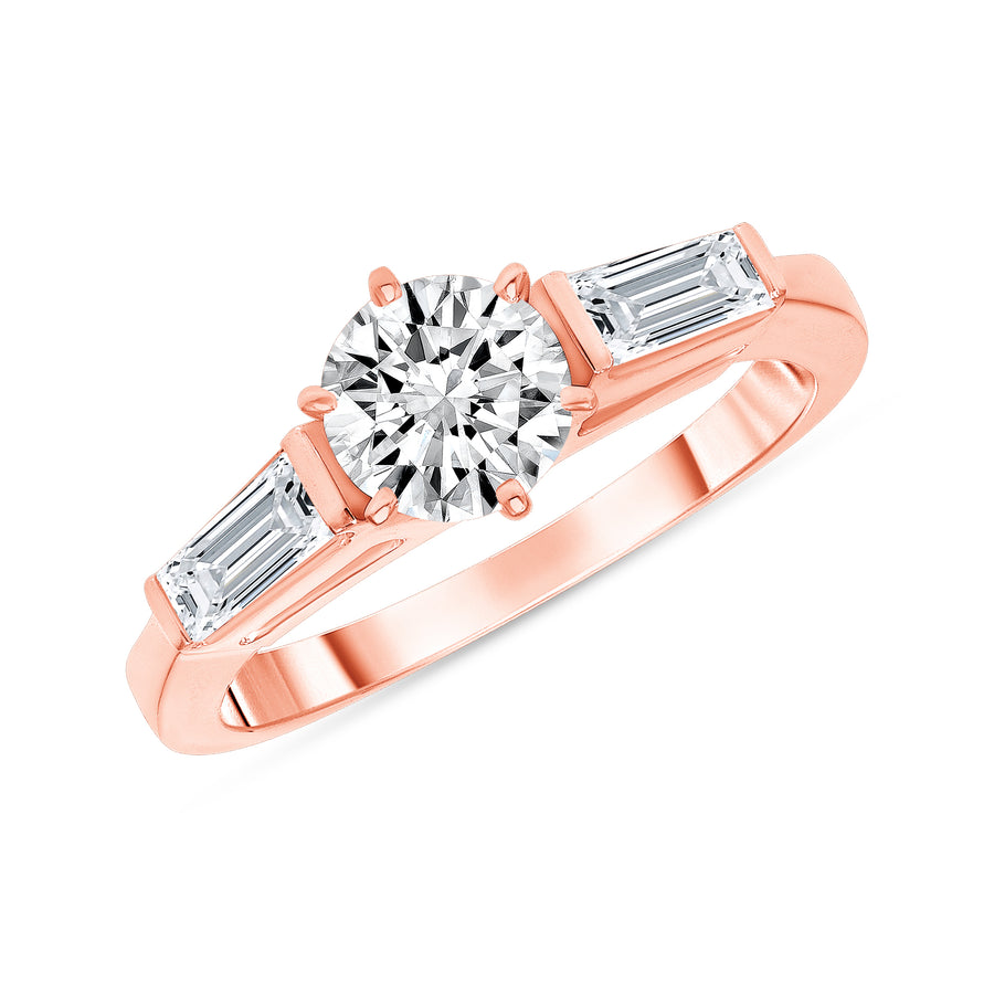 D&P Designs Three Stone Six Prong Engagement Ring Rose Gold