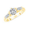 D&P Designs Three Stone Six Prong Engagement Ring Yellow Gold