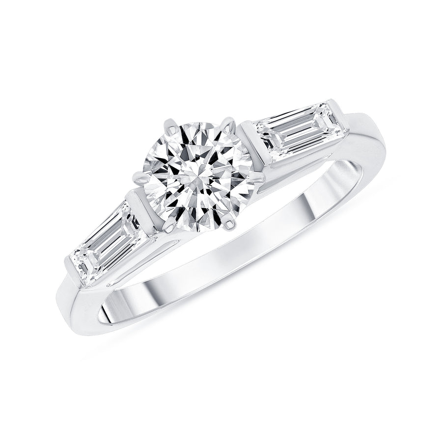 D&P Designs Three Stone Six Prong Engagement Ring White Gold