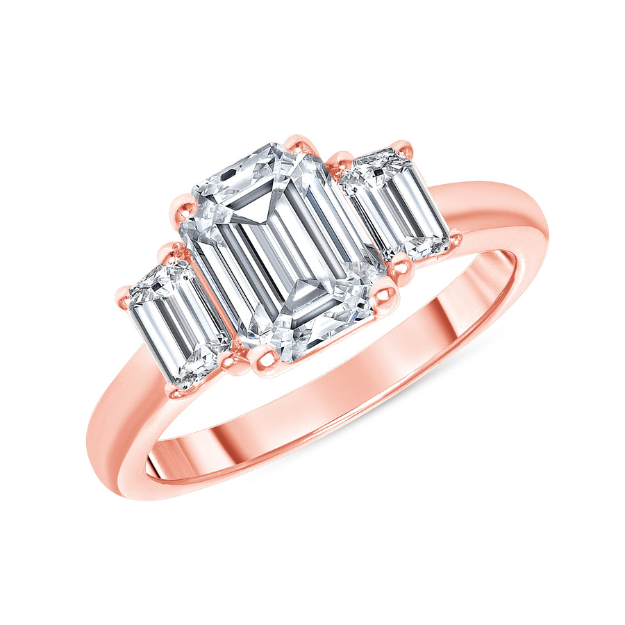 D&P Designs Three Stone Solid Band Engagement Ring Rose Gold