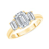 D&P Designs Three Stone Solid Band Engagement Ring Yellow Gold